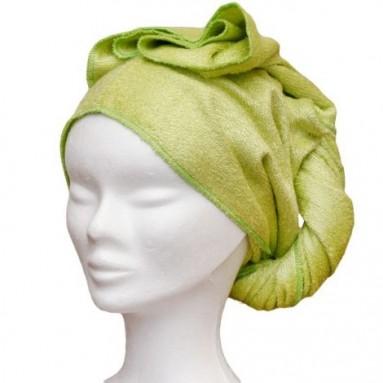 Serviette sèche cheveux en bambou Vert (Les Tendances d'Emma)