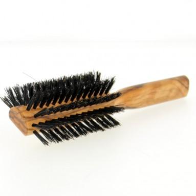Brosse demi-ronde en bois d'olivier et poils de sanglier