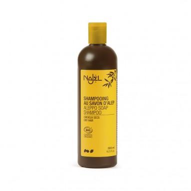Shampooing 2 en 1 nettoyant et démêlant au savon d'Alep pour cheveux secs - 500 ml - Najel