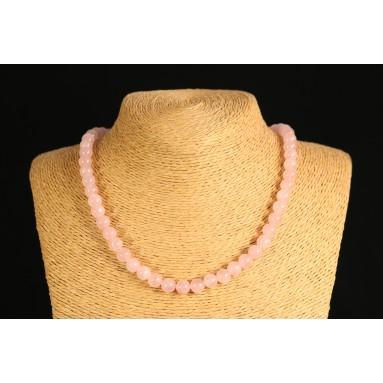 Quartz rose - Collier perle 40 cm - Nia