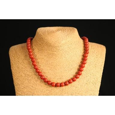 Jaspe rouge - Collier perle 40 cm - Nia