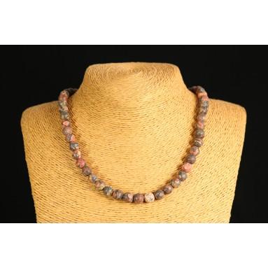 Jaspe léopard - Collier perle 40 cm - Nia