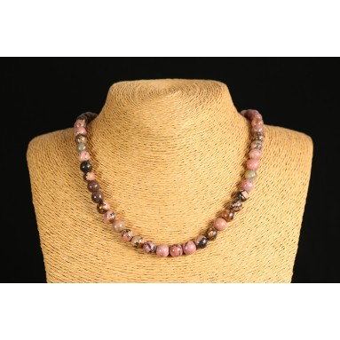 Rhodonite - Collier perle 40 cm - Nia