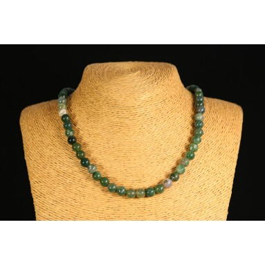 Agate mousse - Collier perle 40 cm - Nia