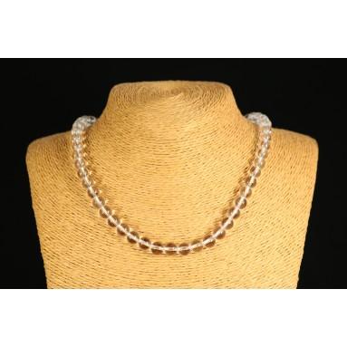 Cristal de roche - Collier perle 40 cm - Nia