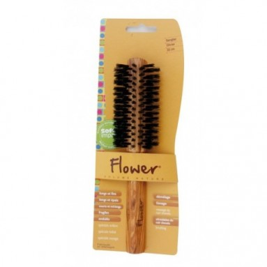 Brosse ronde FLOWER - bois d'olivier et poils de sanglier